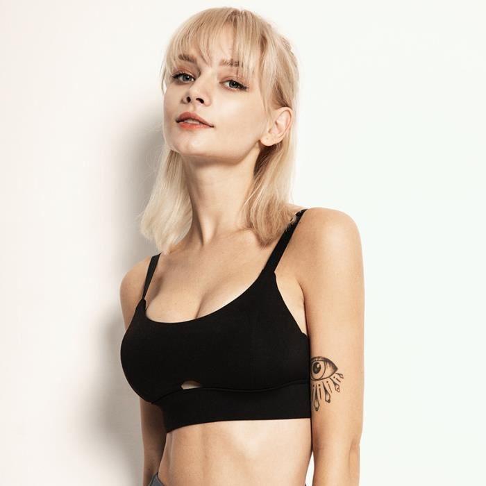 2 pièces Femme Sous vetements Bustier corset pour Jogging Yoga Gym Fitness(Même couleur et Même taille)-S-Noir-Noir