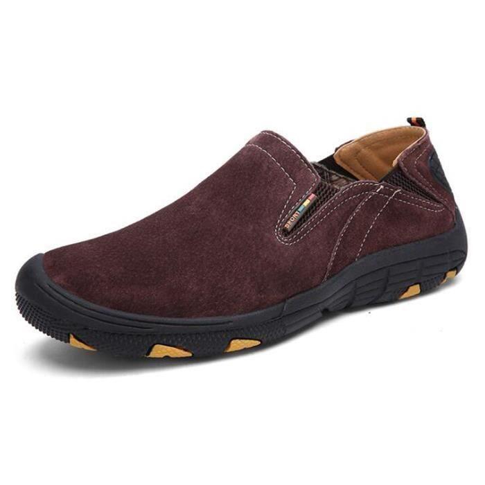 Chaussures Homme Randonnée Suédé Marche Confort Marron