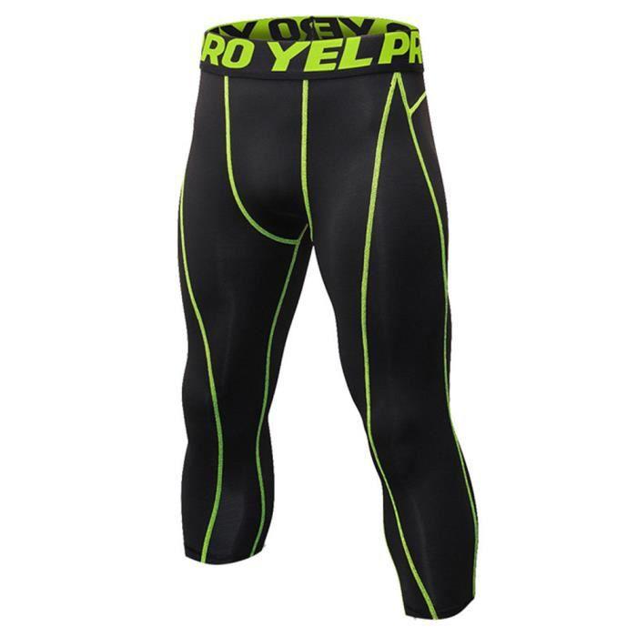 Homme Collant Running Fitness Pantalon de Compression 3-4 Capri Legging Sport Collants Baselayers Noir Vert S