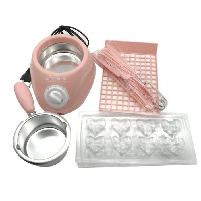 Kit de fondue à chocolat électrique Rose 25W - Doublure intérieure en aluminium