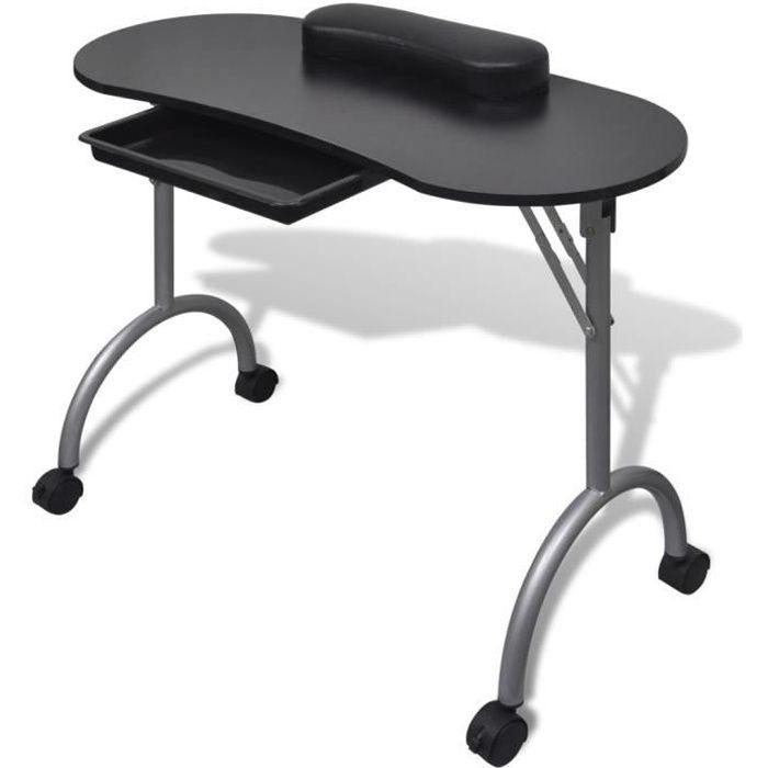 Table de manucure cosmétiques pliante 90 x 37 x 68 cm beauté table de travail informnatique avec roulettes pour ongles-noire