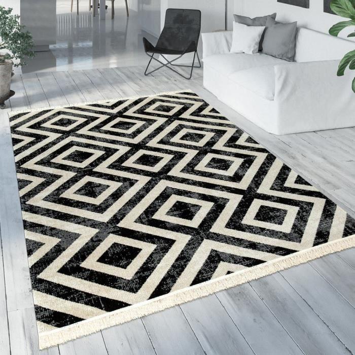Tapis Noir Blanc Balcon Terrasse Extérieur Style Scandinave Motif Losanges Robuste [Ø 200 cm rond]