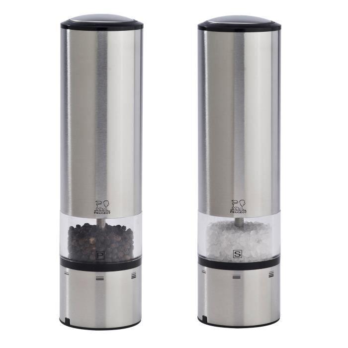 Ensemble de moulins peugeot eLIS duo uSelect, sENSE inox 20 cm et capteur de lumière automatique