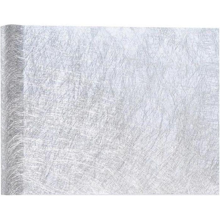 Chemin de table de Noël argenté métallisé chic 30cm x 25m (x1) R/4755