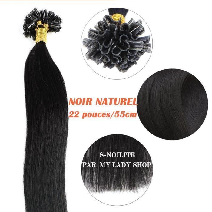 Extensions Keratine a Chaud Cheveux Naturels 50 mèches(1g-mèche) Noir naturel-22 pouces-55cm - Onglet Pointe U Kératine Remy Hair