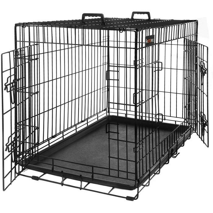 FEANDREA Cage pour chien pliable 2 Portes transportable avec Poignée et Plateau 75 x 47 x 54cm par SONGMICS PPD30H