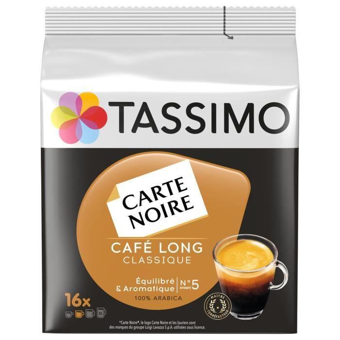 LOT DE 5 - TASSIMO carte noire long classique n°5 Café dosettes - 16 dosettes