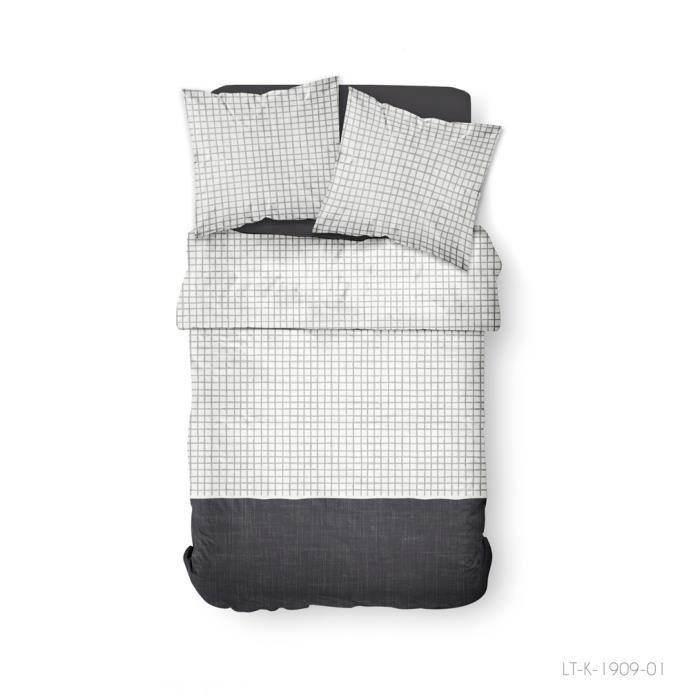 TODAY Parure de couette 100 % Coton 240x260cm SUNSHINE #3.55 - Noir et blanc