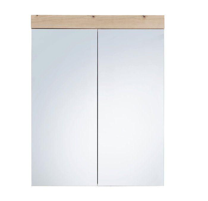Amanda - Armoire de toilette murale - 2 portes miroir - coloris blanc - bandeau chêne  L - H - P : 60 - 77 - 17 cm  - Chêne