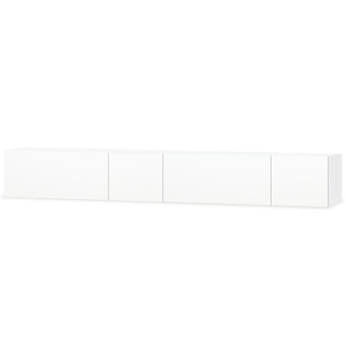 vidaXL Meuble TV 2 pcs Aggloméré 120 x 40 x 34 cm Blanc brillant