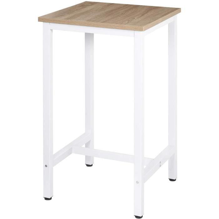 WOLTU Table de Bar,Table de Cuisine Carré 60x60x102cm en aggloméré et métal,Table de bistrot Table Haute,Chêne Clair