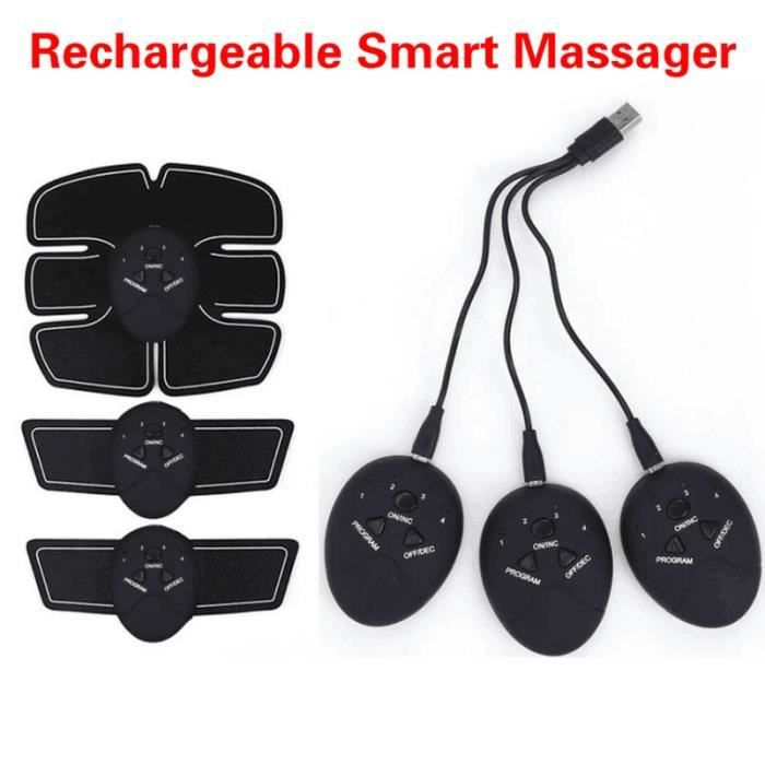1 whole set -Stimulateur de muscles abdominaux rechargeables, masseur EMS, pour les jambes, les bras, appareil d'entraînement à domi