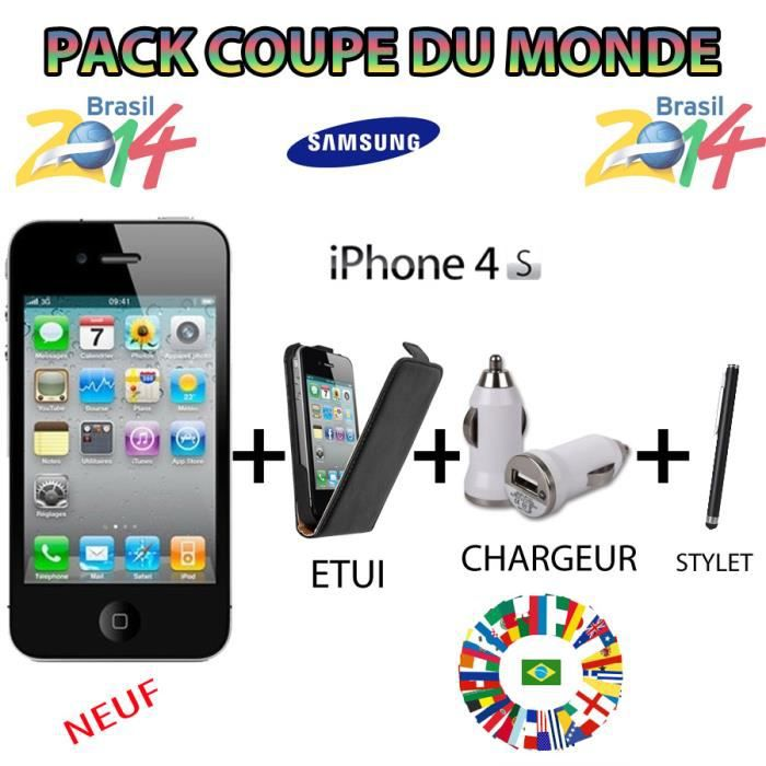 apple iphone 4s noir neuf 8g pack coupe du monde achat smartphone pas cher avis et meilleur. Black Bedroom Furniture Sets. Home Design Ideas