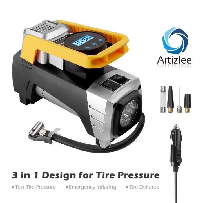 COMPRESSEUR 12V Compresseur d'air Portable, ARTIZLEE Gonfleur de P