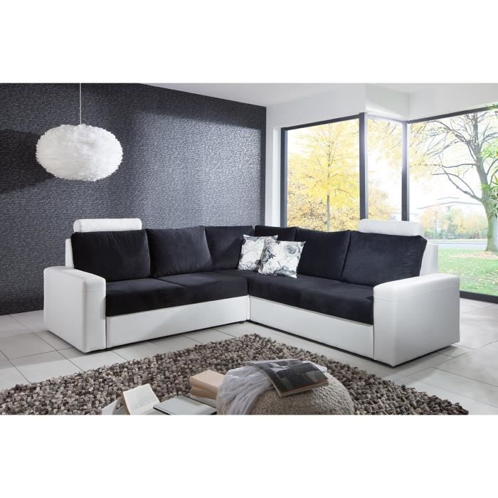 canap d 39 angle convertible noir et blanc rio achat vente canap sofa divan cdiscount. Black Bedroom Furniture Sets. Home Design Ideas