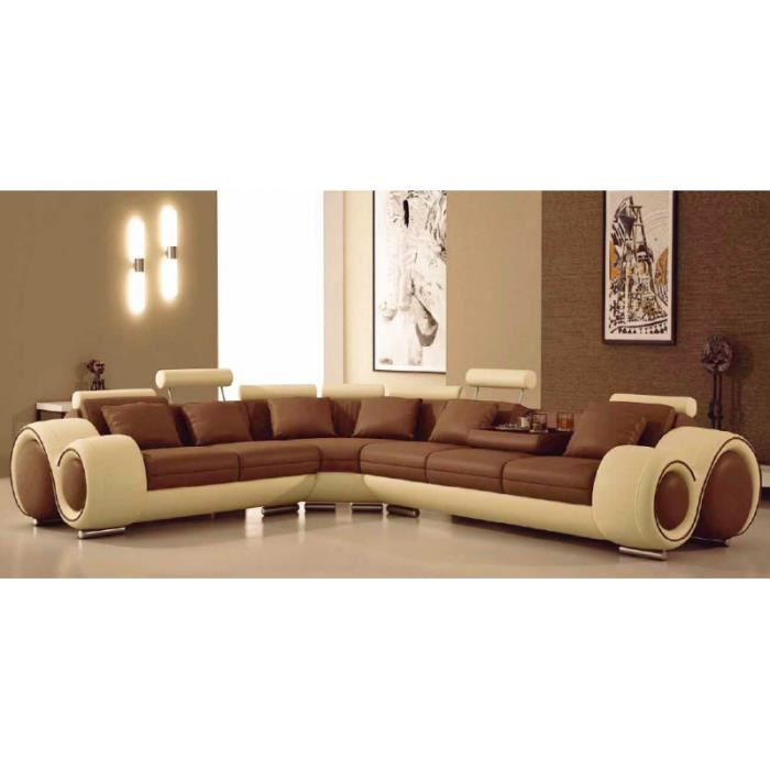 canap d 39 angle design relax cuir marron et beige achat vente canap sofa divan cuir. Black Bedroom Furniture Sets. Home Design Ideas