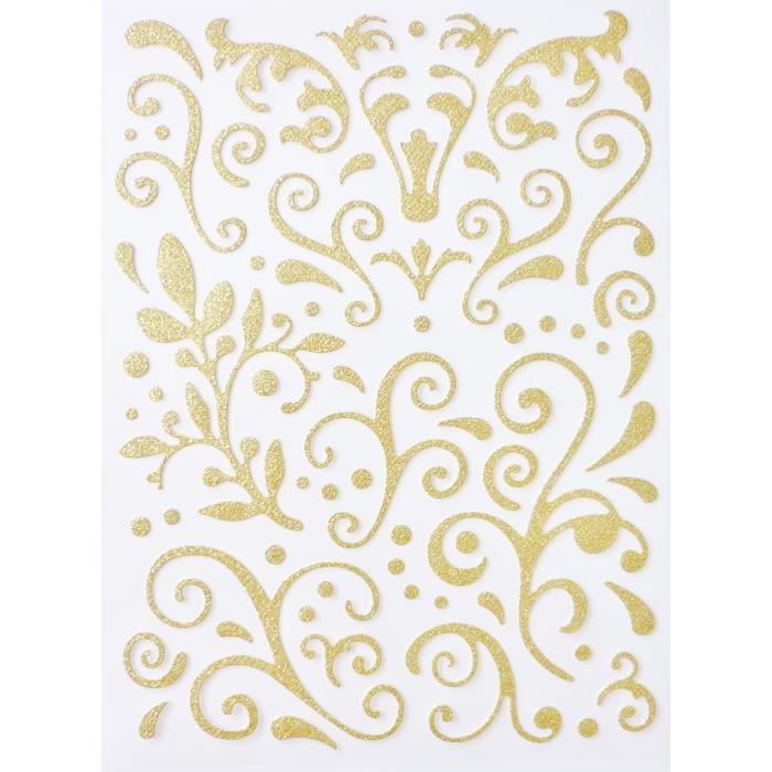 Sticker paillet adh sif arabesque dor graines for Papier a coller sur meuble
