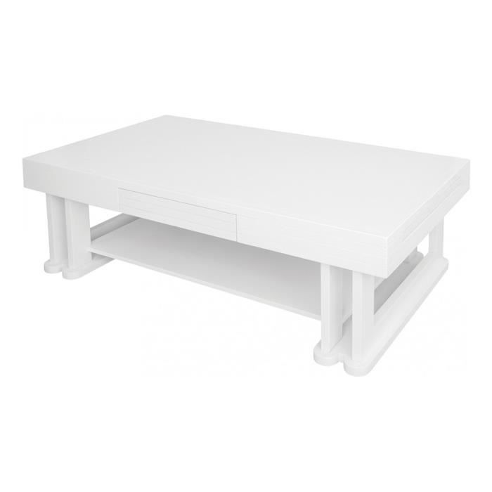 table basse rectangulaire fr ne massif laqu blanc brillant 1 tiroir 1 tirette double plateau. Black Bedroom Furniture Sets. Home Design Ideas