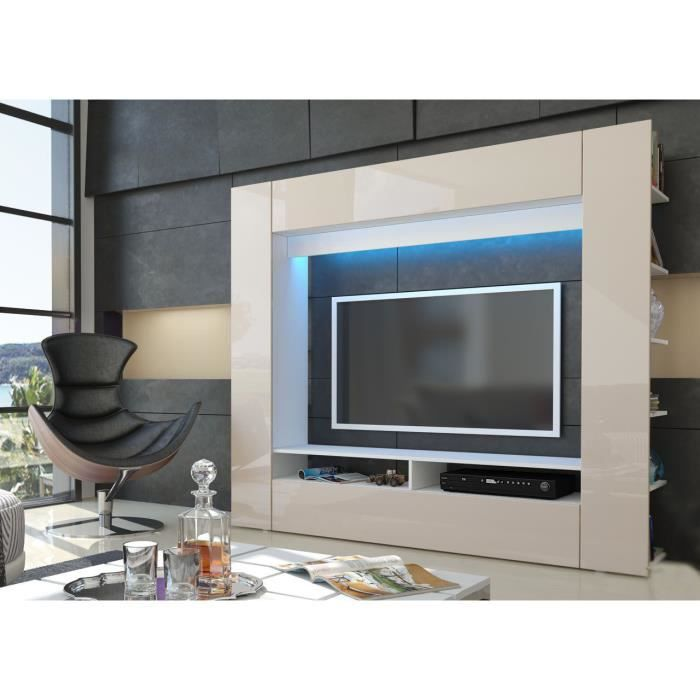 meuble tv mural blanc et sable achat vente meuble tv. Black Bedroom Furniture Sets. Home Design Ideas