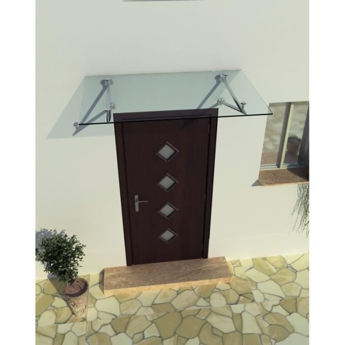 Auvent de porte en verre 200 x 90 cm Auvent porte toit Porte Verre Transparent Verre et acier inoxydable VSG