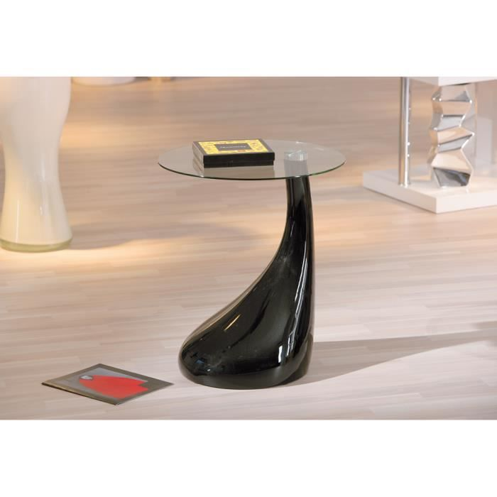 table d 39 appoint noir avec plateau en verre ultra design. Black Bedroom Furniture Sets. Home Design Ideas