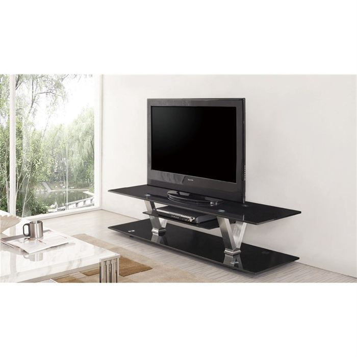 meuble tv design laque noir et verre noir enzo achat. Black Bedroom Furniture Sets. Home Design Ideas