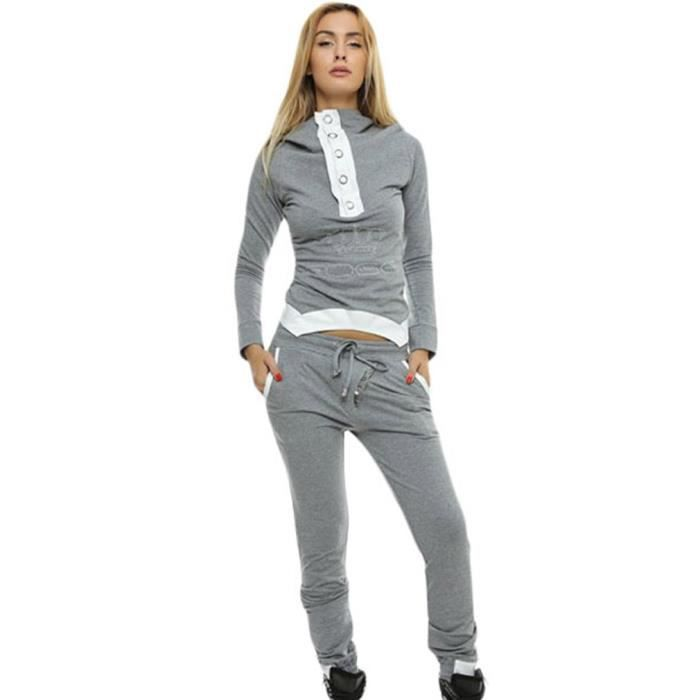 eozy ensemble de v tement 2 pi ce femme veste pantalon costume capuche gris d contract sport. Black Bedroom Furniture Sets. Home Design Ideas