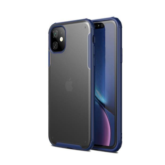 COQUE - BUMPER Coque iPhone 11,Bleu Ultra Slim Transparent Antich