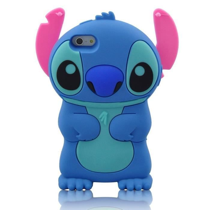 coque apple iphone 6 6s 3d stitch silicone bleu