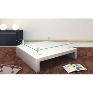 Table basse carre laque blanc achat vente table basse for Table basse carree blanc laquee