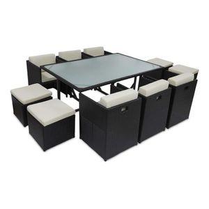 Ensemble table et chaise de jardin Salon de jardin en résine encastrable 10 places -