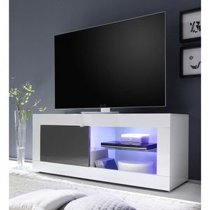 MEUBLE TV Meuble TV blanc et gris laqué design ARIEL 3 L 140