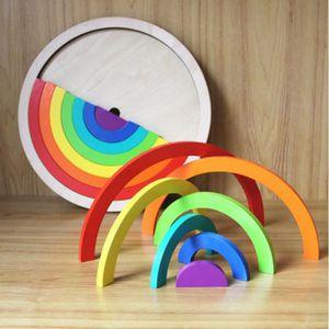 BRICOLAGE - ÉTABLI 14pcs / set blocs de bois colorés jouets pour enfa