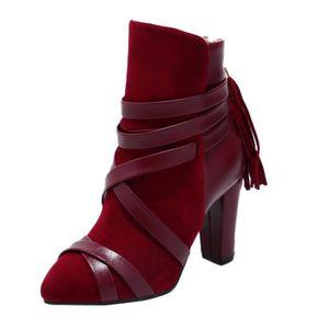 BOTTINE Femmes Tassel Chaussures couleur unie Scrub haut t