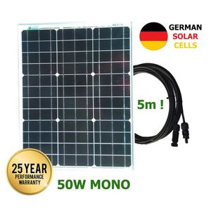 KIT PHOTOVOLTAIQUE Panneau solaire monocristallin 50W cellules allema