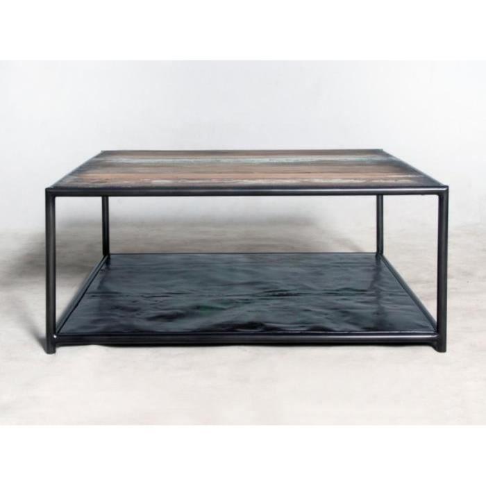Table basse carrée 2 plateaux urban 80 x 80 cm