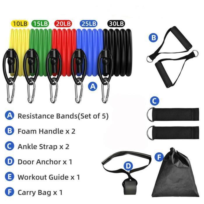 11pcs Bandes de Résistance Elastique Musculation Resistance Band Set (Anti-Fracture) Oignées Ancre de Porte Sangles puissance.