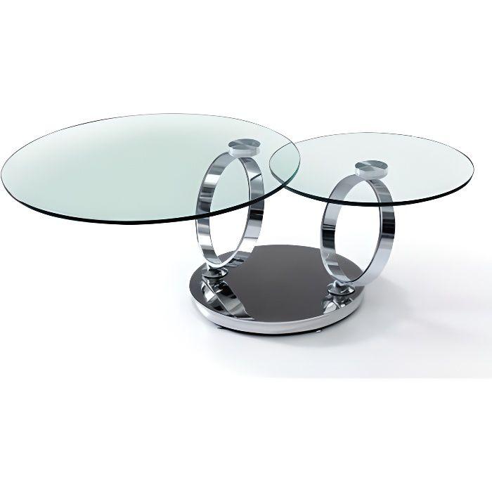 Table basse 2 plateaux ronds en verres et pieds chromés Infinity