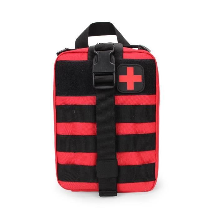 Rouge -Trousse de premiers secours tactique, sac militaire, taille Molle, outils de survie en plein air, pochette de ceinture, EDC,