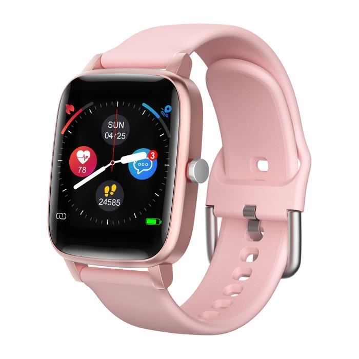 Montre connectée MMTek Thermo Care Advance avec thermomètre et Rythme cardiaque Bracelet montre intelligente fitness - Rose