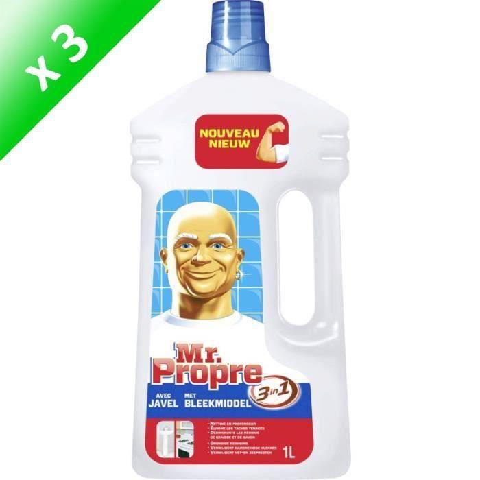 MR PROPRE Lot de 3 nettoyants liquides Dilue javel - Multi-usages - 1 L