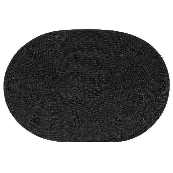 Set de table tressé ovale - Noir