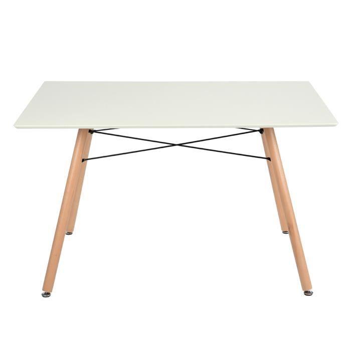 Table à manger Scandinave Design pour 4-6 personnes Rectangle Bois Blance L 110 x P70 x H 71 cm