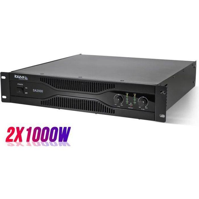 Amplificateur sono 2 x 1000W rack 19- XLR-RCA-Jack 6.35mm - Ibiza Sound SA2000