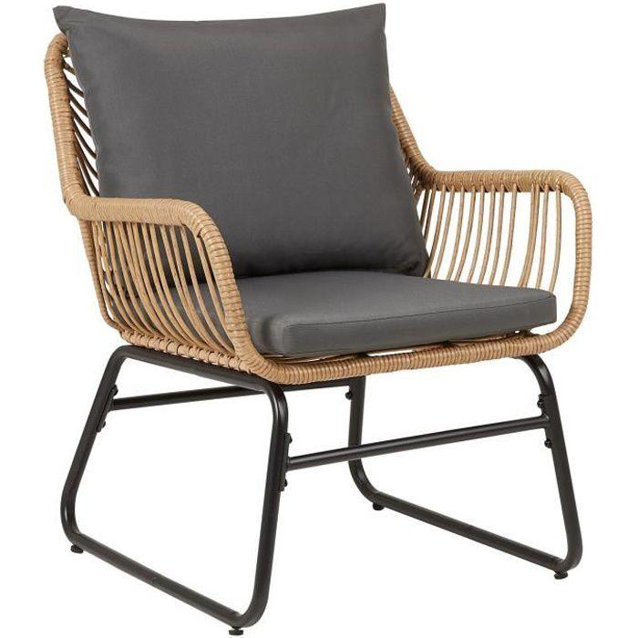 Chaise de salle à manger ALBEDO imitation rotin, fauteuil d'intérieur ou d'extérieur en polyrattan et acier noir, avec 2 coussins