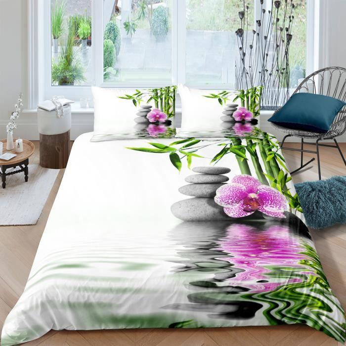 Parure de lit ZEN galets bambous fleur et leurs reflets 3D 220*240cm 3 pieces 1 housse de couette et 2 taies d'oreiller 63*63cm