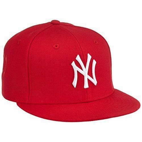 New Era -casquette baseball homme basic bonnet nY yankees mLB 59 fifty fitted Rouge Scarlet/White 7 1/4 - 10011573-Red