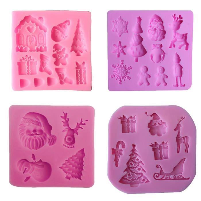 4 moules de Noël en silicone liquide, résistants à la chaleur, flexibles, avec différents motifs pour le caramel, la gelée
