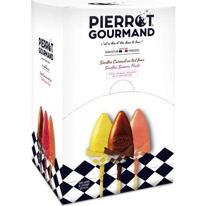 Sucettes Pierrot Gourmand caramel et fruits BTE DE 100