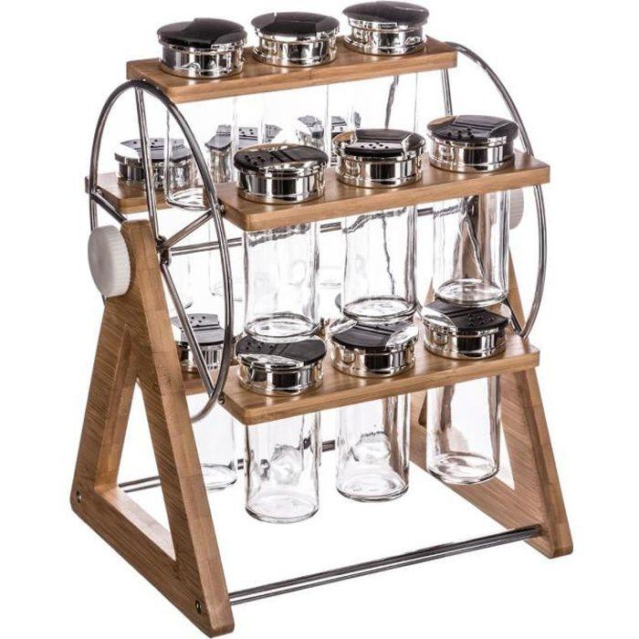 Secret de Gourmet - Lot de 15 pots à épices + support roue Bambou